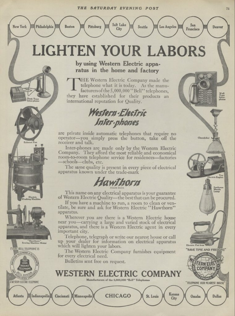 An advertisement for an electric washing machine, 1910s