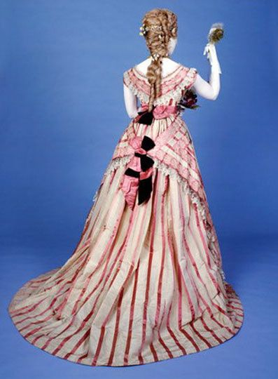 Evening dress, Mmes Kerteux Soeurs, 1871. Striped silk, trimmed with butterfly motif lace. © Museum of London.
