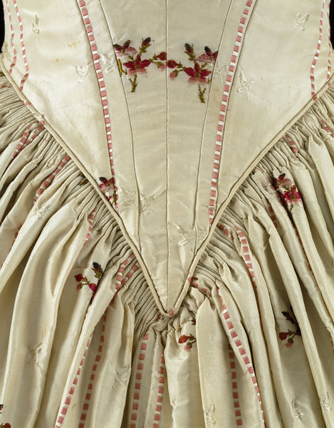 Evening dress, Spitalfields, England (brocaded silk, made), 1840s (made)  1770s (woven), Brocaded silk lined with cotton, whalebone, Victoria and Albert Museum, T.854-1974