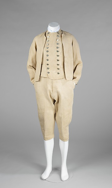 Suit, 1875–90, British, linen, Metropolitan Museum of Art, 2009.300.487a–c