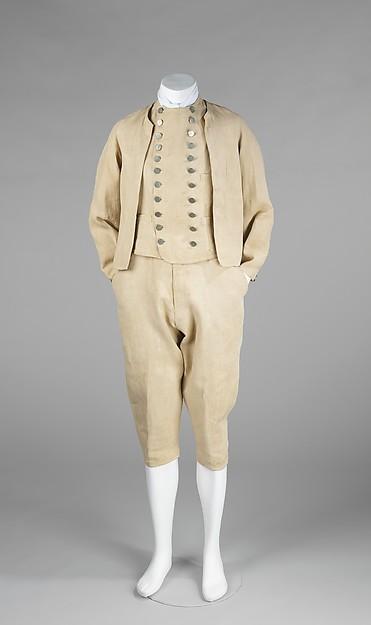 Suit, 1875–90, British, linen, Metropolitan Museum of Art, 2009.300.487a–c