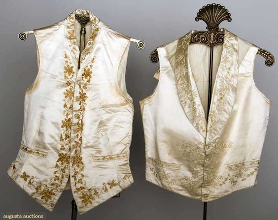 Two men's wedding vests, American, 1840-1850, Augusta Auctions