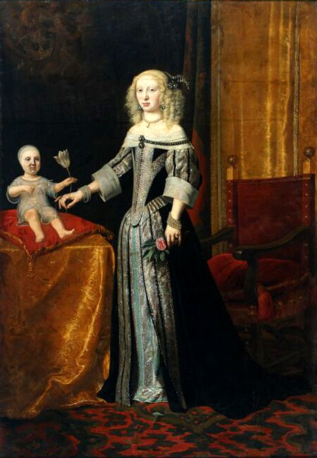 Johannes Spilberg (1619-1690), Portrait of Landgravine Elisabeth Amalie of Hesse-Darmstadt probably with her daughter Eleonor Magdalene of the Palatinate-Neuburg (1655-1720)), 1654-55, Stadtmuseum Düsseldorf, via Wikimedia Commons