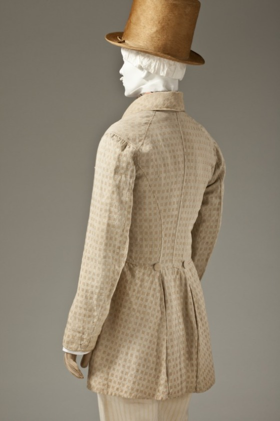Man's Frock Coat, Europe, circa 1845, Cotton plain weave with supplementary warp-float patterning, LACMA, M.2007.211.61