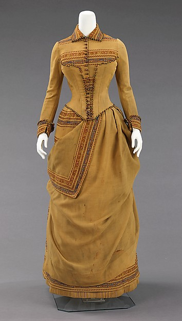 Ensemble Ensemble (day dress), ca. 1885, American Medium:wool, beads, metal, wood, Brooklyn Museum Costume Collection at The Metropolitan Museum of Art, 2009.300.396a, b