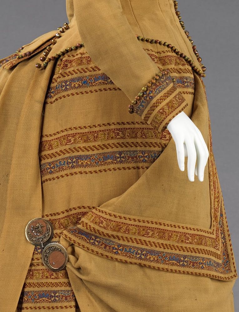 Ensemble (day dress), ca. 1885, American, wool, beads, metal, wood, Brooklyn Museum Costume Collection at The Metropolitan Museum of Art, 2009.300.396a, b