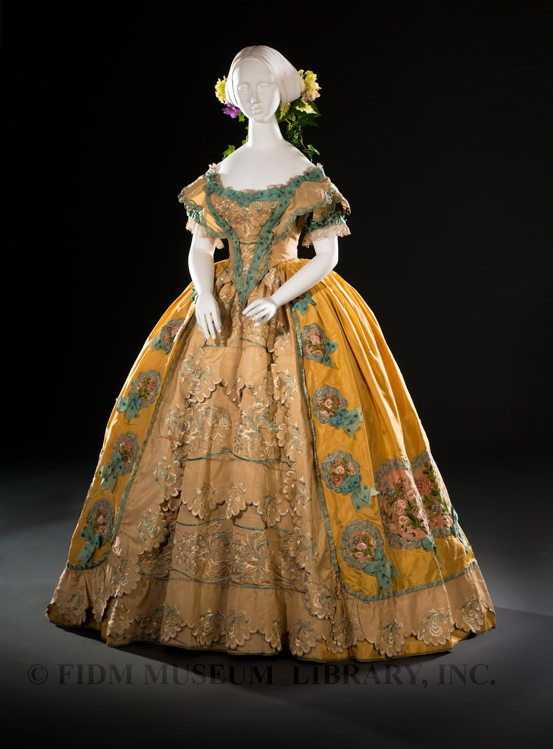 Ball gown, American, c. 1852. Helen Larson Historic Fashion Collection via FIDM