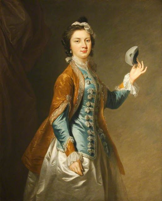 Eva Maria Veigel, Mrs David Garrick (1724–1822), with a Mask, Johann Zoffany (1733–1810) (attributed to) mid-18th century, (c) National Trust, Polesden Lacey; Supplied by The Public Catalogue Foundation