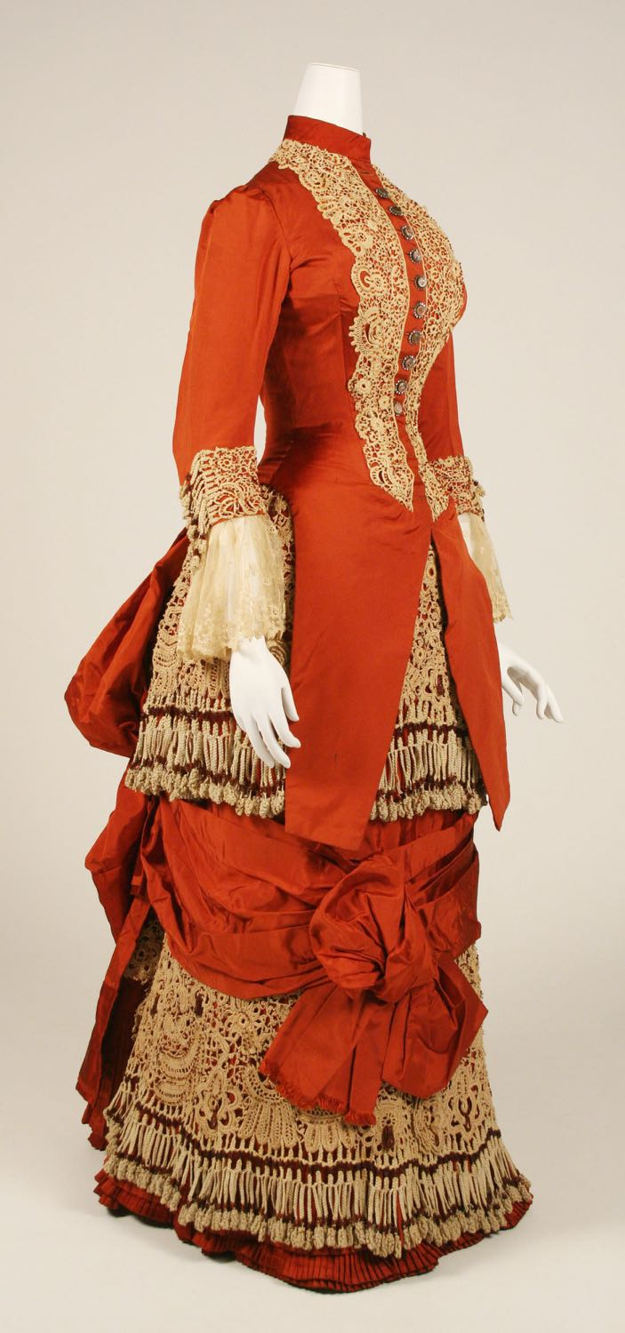 Dress, ca. 1880, American, silk, cotton, glass, Metropolitan Museum of Art, 1982.219.2a, b