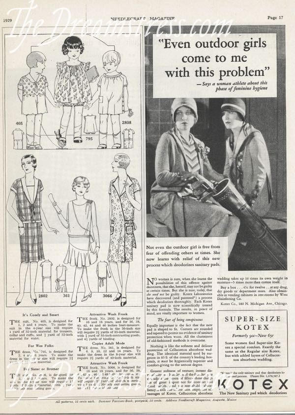 Kotex advertisement, 1929, thedreamstress.com