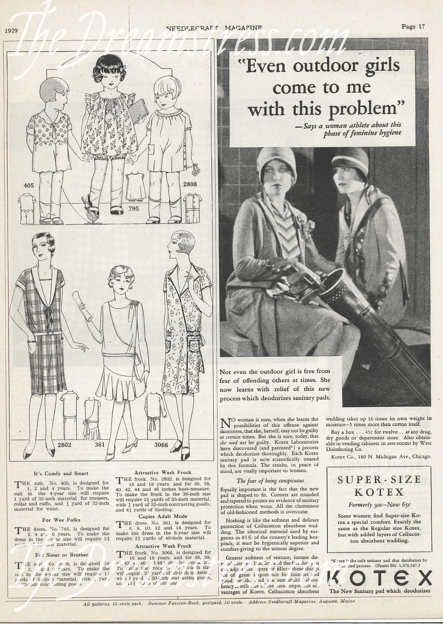 Kotex advertisement, 1929, thedreamstress.com