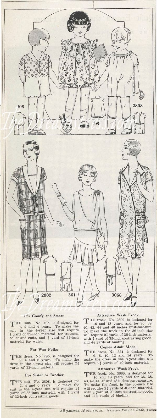 Clothes for toddlers and girls, 1929, thedreamstress.com