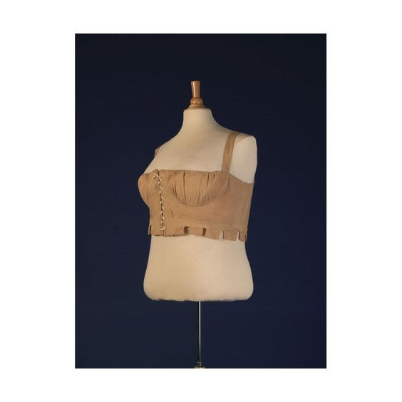 Connecticut Historical Society- 1963.42.4 - c1805. Buff yellow cotton (possibly nankeen) stays for a large woman