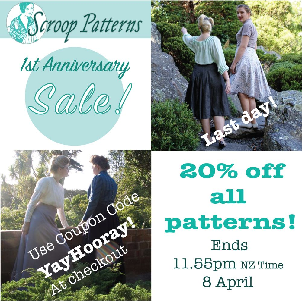Scroop 1st anniversary sale last day Scrooppatterns.com