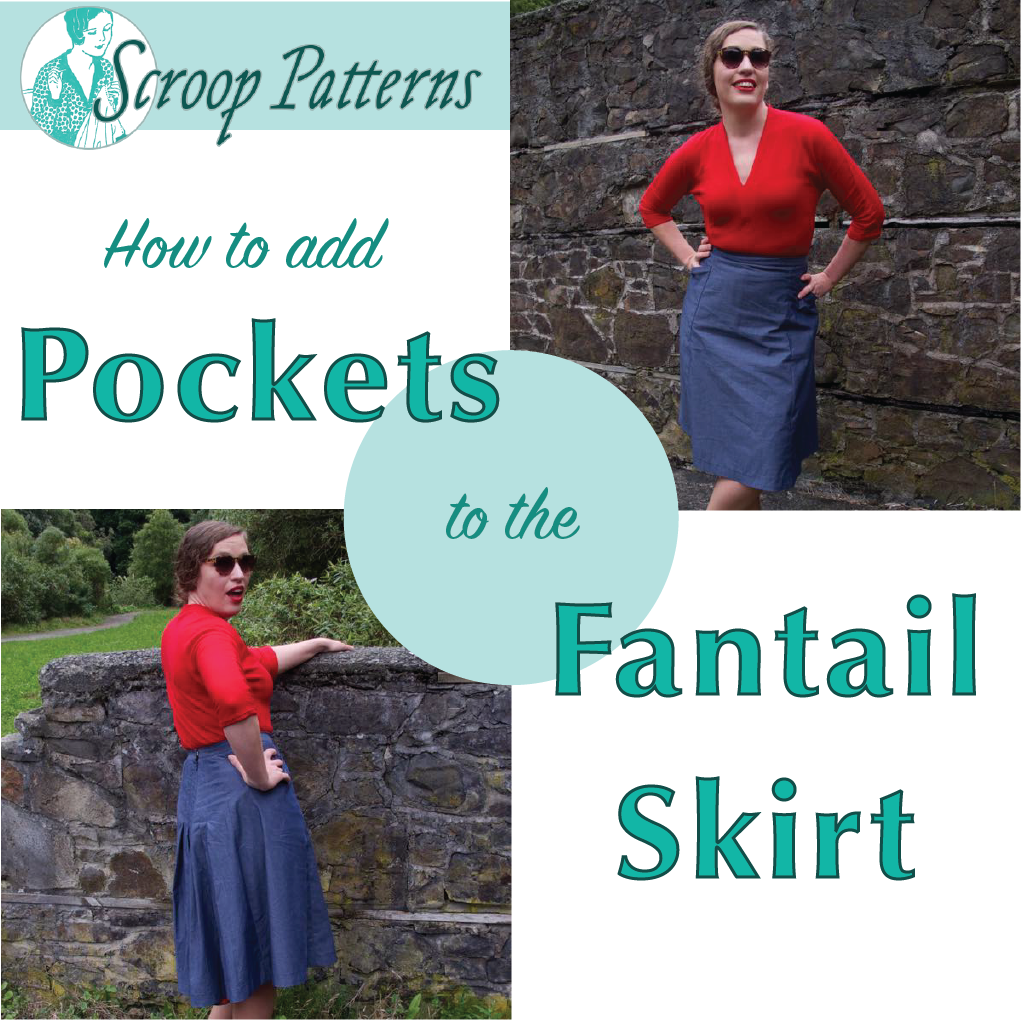How to add Pockets to the Scroop Fantail Skirt thedreamstress.com