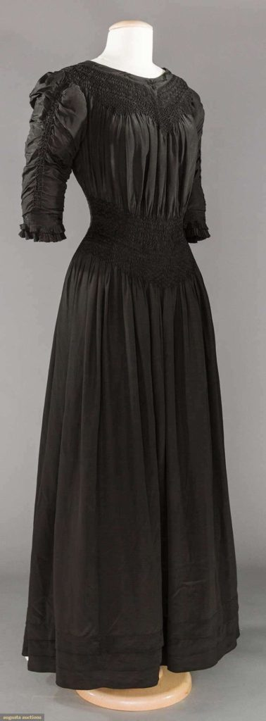 Black Aesthetic style smocked dress, Liberty & Co, 1890-1905, china silk, Augusta Auctions Lot- 239 May 9, 2017