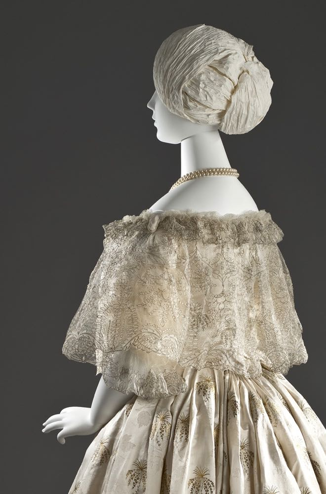 Evening dress, ca. 1850, Silk satin with silk and metallic-thread supplementary patterning and silk net with metallic-thread embroidery, Los Angeles County Museum of Art, M.2007.211.872a-b