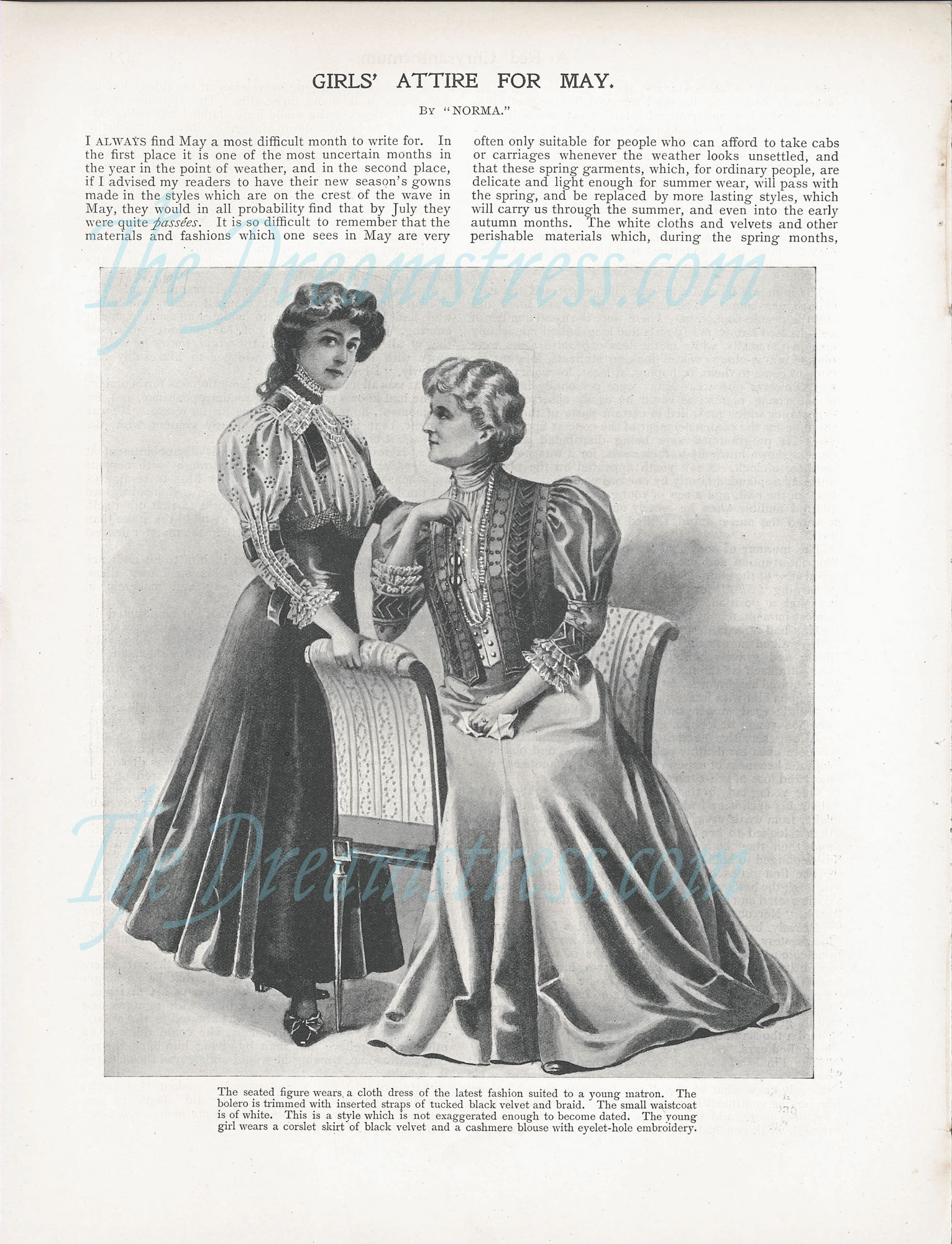 Girls Attire for May 1906, The Girls Own Paper thedreamstress.com