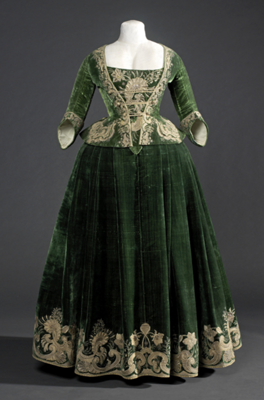 Rate the dress green velvet gold trim 1718ish the for 18th century wedding dress