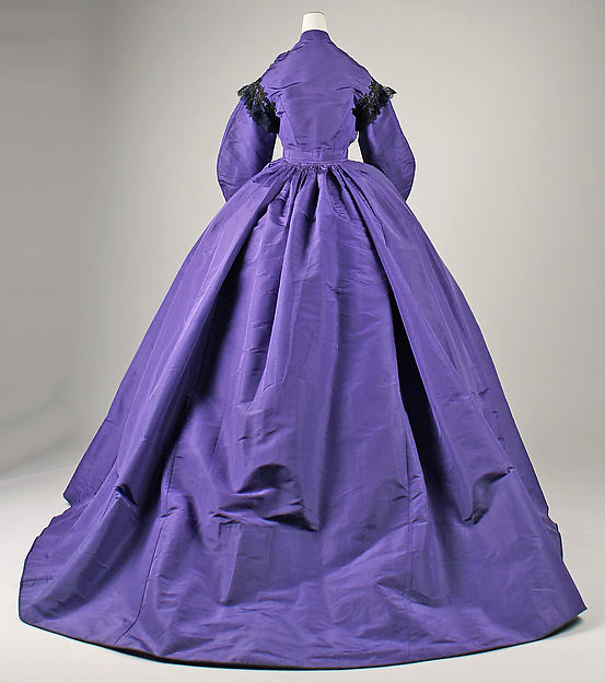 Visiting dress, 1863–65, American, silk, cotton, glass, Metropolitan Museum of Art, 1977.204.2a, b