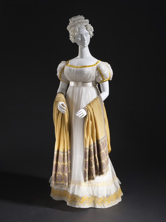 Woman's Dress, France, circa 1820, Cotton gauze and cotton bobbin net with wool embroidery and silk satin trim, LACMA, M.2007.211.18