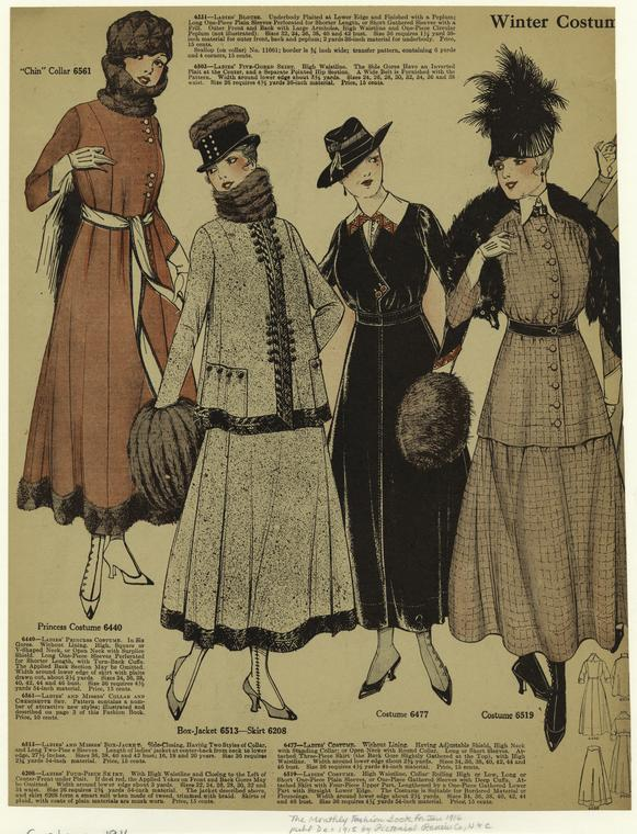 January 1916 styles as shown in the Pictoral Review Monthly Fashion Book, via NYPL Digital Gallery