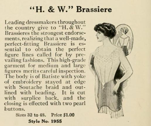 Corset H&W Brassiere, 1911-14