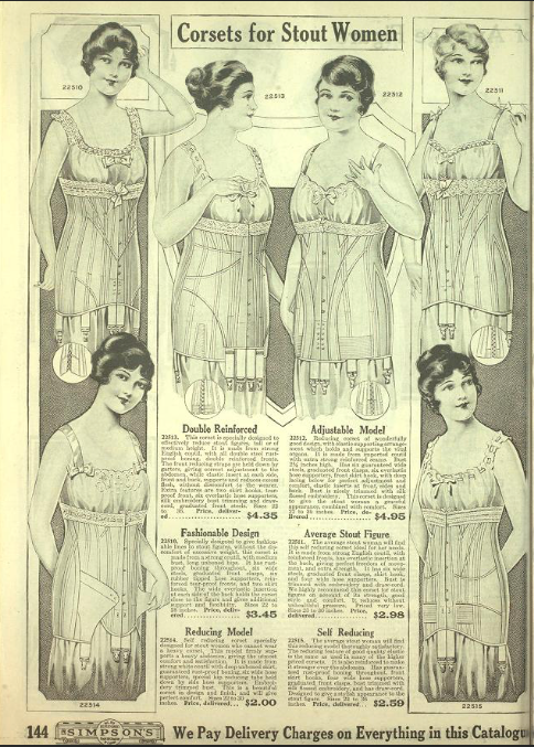 Corsets for Stout Women, Simpson's Catalogue, Fall-Winter 1918-19, via archives.org