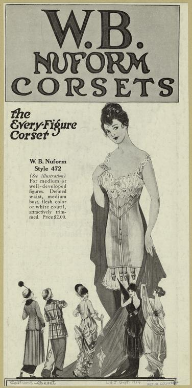 W.B. Nuform Corset ad, 1914, via NYPL Digital collections