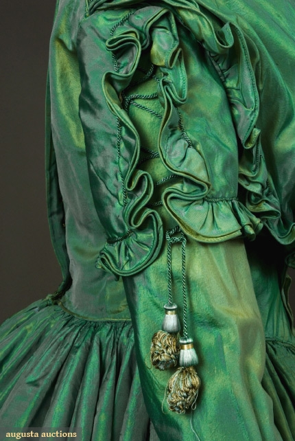 Dress of green changeable silk, 1840s, sold at Augusta Auctions in the Tasha Tudor Historic Costume Collection Sale, Nov 2007