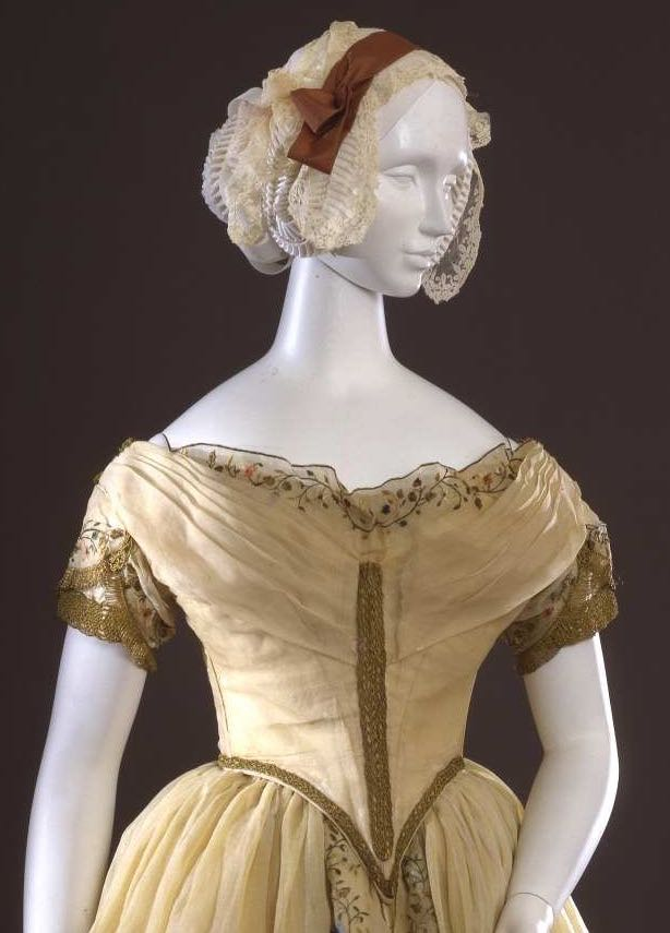 ca 1845 ball gown, 1840s evening gown