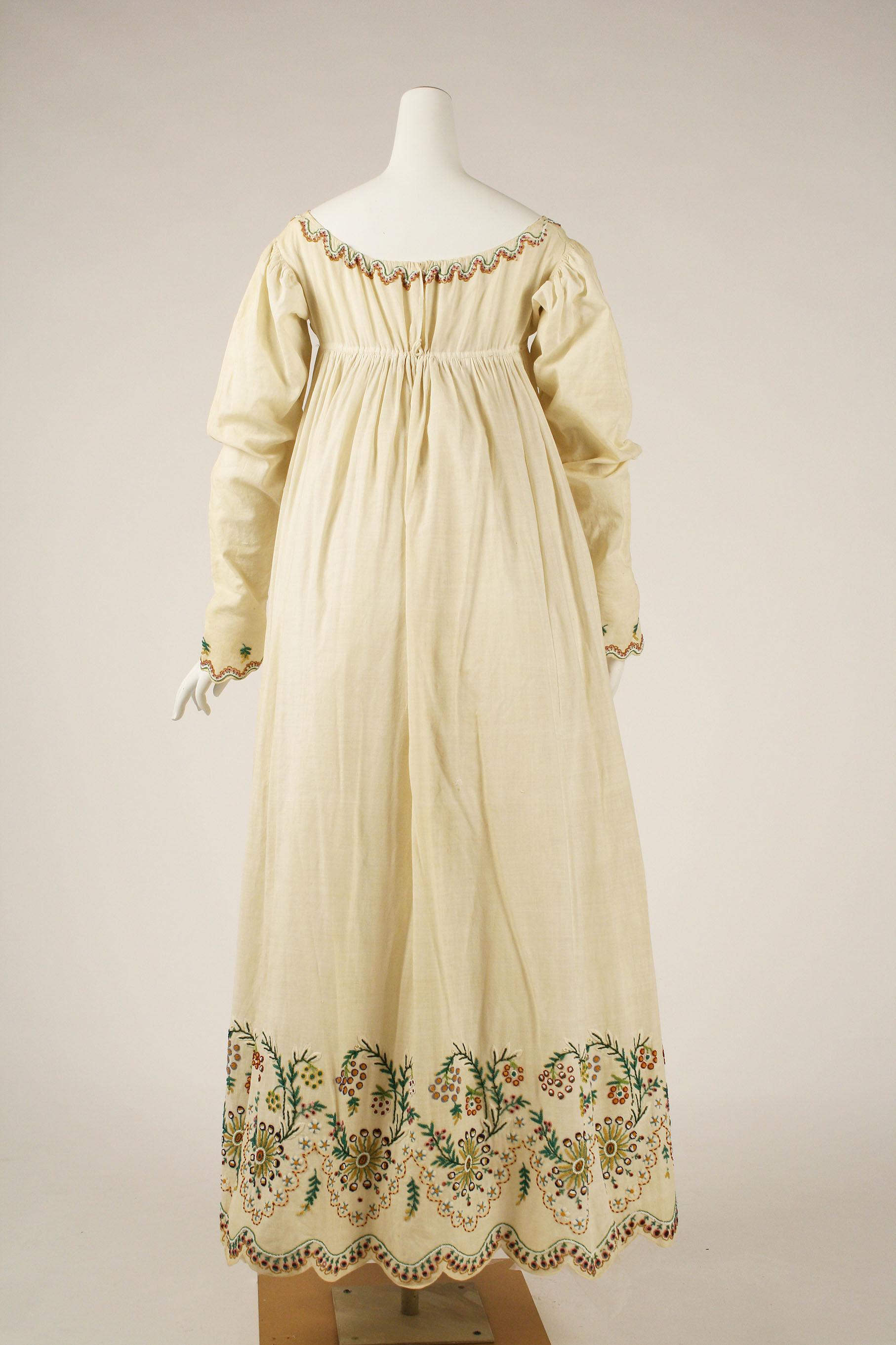 Dress, 1804–15, Austrian, cotton & glass, Metropolitan Museum of Art, C.I.39.13.52