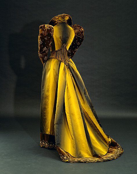 Tea dress comprising bodice and skirt c.1892, Emile Pingat (House of Pingat) silk satin, silk velvet, glass, beads, metallic thread, silk cord National Gallery Australia 92.1129.A-B