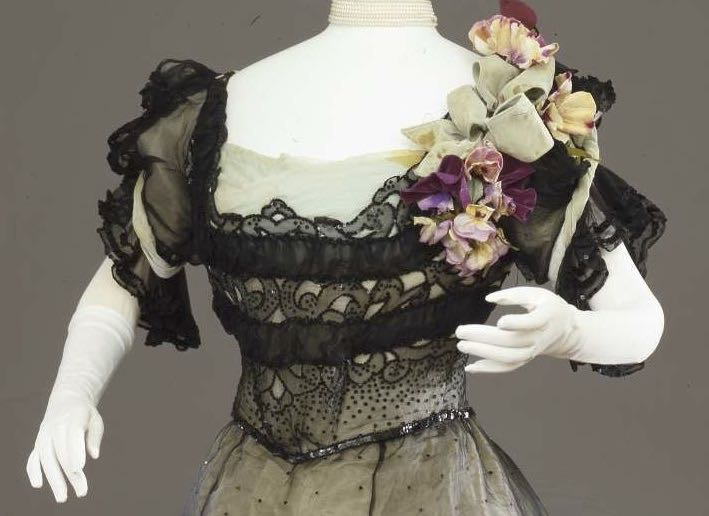 Evening dress in two parts, Mrs. C. Donovan, New York (Designer), silk, sequins, via Europeana.eu