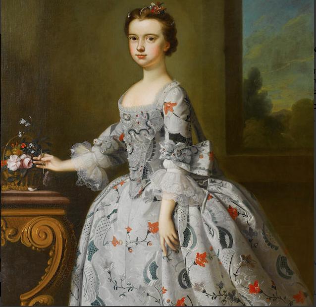 Bartholomew Dandridge (British, 1691-1755) Portrait of a girl with basket of flowers, ca 1740