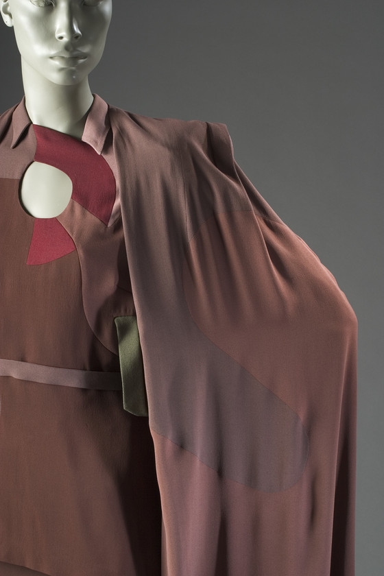 Woman's Ensemble (Cape, Blouse, and Skirt) Gilbert Adrian (United States, active California, Los Angeles, 1903-1959) United States, California, 1945, Rayon plain weave (crépe), rayon satin-back crepe, 56.14.5a-c