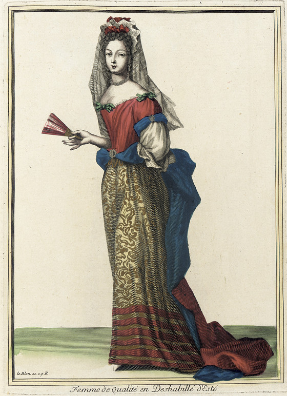 Recueil des modes de la cour de France, 'Femme de Qualité en Deshabillé d'Esté' Jean LeBlond (France, active circa 1635-1709) France, Paris, 1682 Prints Hand-colored engraving on paper, LACMA M.2002.57.65