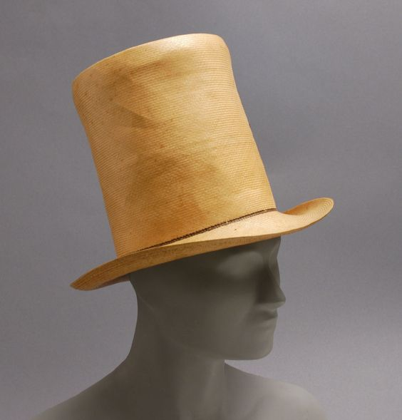 Top hat, China or United States, 1835, Plaited straw. Philadelphia Museum of Art, 1925-28-6a,b