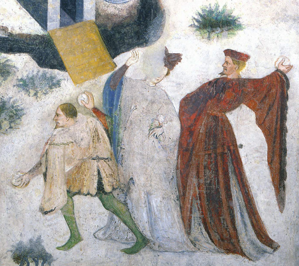 January detail, Cycle of frescos of the twelve labors of the months, Trento (Italy), Castello del Buonconsiglio (Bishops Castle), Torre del'Aquila (Tower of the eagle), otherwise unknown Master Wenceslas of Bohemia, after 1397
