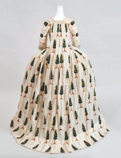 Robe à la Française, Cotton with crewel embroidery, French, ca 1770, sold by Cora Ginsburg