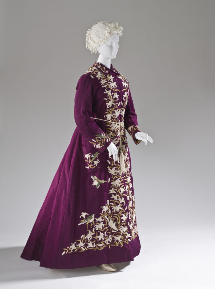 Woman's Dressing Gown with Belt, Japan, Yokohama, for the Western market, circa 1885, silk plain weave (faille) with silk embroidery; belt: silk braided cord with tassels Belt, LACMA, M.2007.211.784a-b
