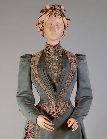 Blue-grey silk faille day dress with appliqué, embroidery, and beading, Label- Mme. Chamas, 66 rue des Petits Champs, Paris, France, ca. 1890, Kentucky State University Museum 1983.1.178 ab