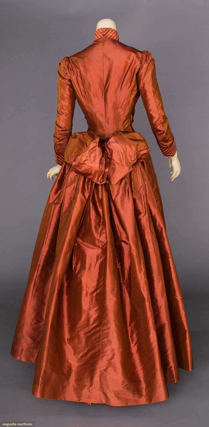 Bustle dress, silk, 1880s, August Auctions, Lot 356, May 9, 2017