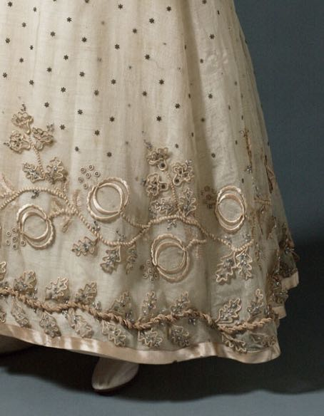 Evening Dress, French,  c. 1817, silk and wool gauze with silk satin, iron floral pailettes, silk embroidery, silk-wrapped paper, cording of silk around metal core, and glass beads, Philadelphia Museum of Art, 1958-74-1
