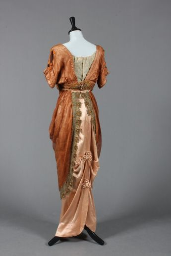 Madame Ernest Ltd cinammon gauze silk and satin evening gown, circa 1910, sold by Kerry Taylor Auctions