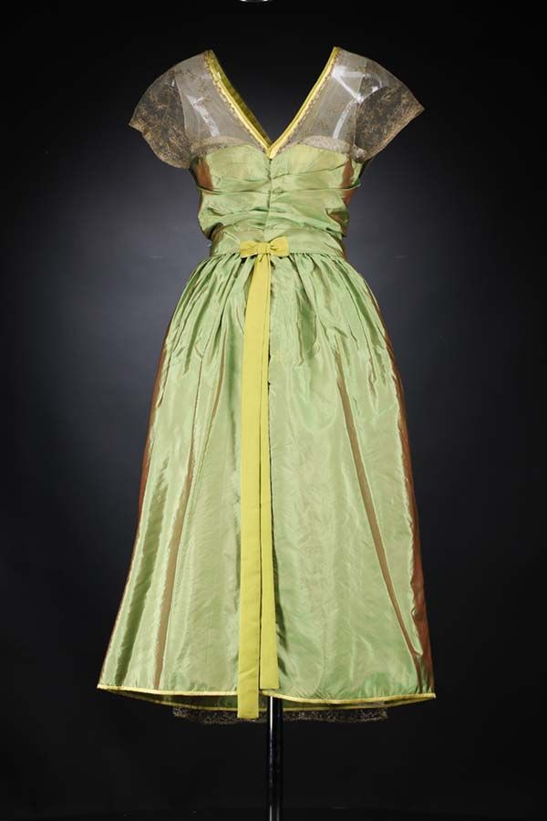 Evening dress, Lucile Ltd, Paris, France, c.1918-1920, Silk, gold-embroidered net, satin binding, silk flowers, National Museums of Scotland