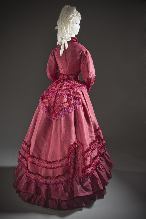 Woman's Dress Ensemble, United States, circa 1870, Silk taffeta, linen plain weave, and cotton twill weave with silk macramé fringe, LACMA, M.2007.211.773a-d