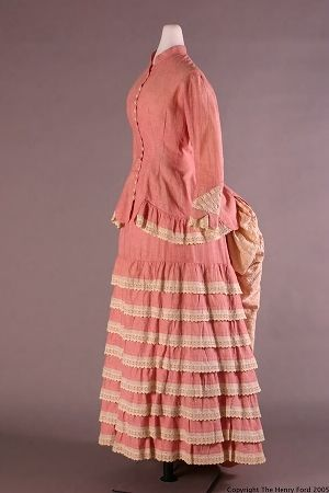 1882 dress, cotton chambray with seersucker, Wayne State University Libraries