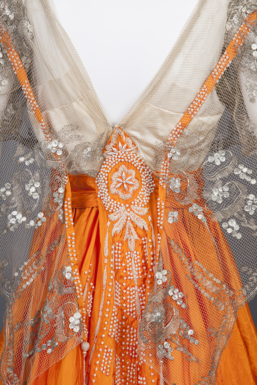 Evening Gown Of Cream Silk Satin and Orange Silk Taffeta, Hollander, L.P., 1916-1917, USA, silk, pearl beads, chenille yarn, aigrette feathers, Goldstein Museum of Design 1982.016.015