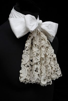 Lace cravat in Bowes Museum, Northumbria. Venetian raised needleworked lace, made around 1675.